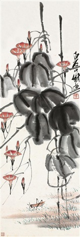牵牛蚱蚂 flower by qi baishi