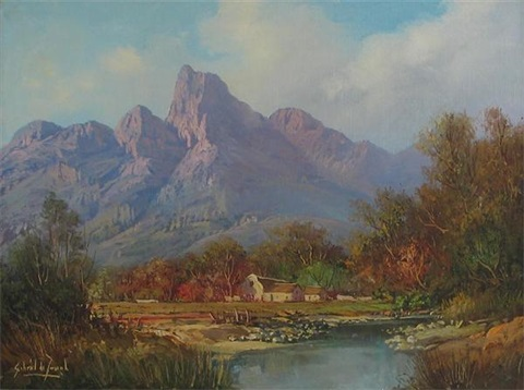 view in the jonkers hoek mountains stellenbosch by gabriel cornelis de jonge