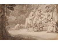 travelers conversing with country folk on a woodland path, sheep and a dog by john white abbott