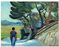 jeune femme sur un chemin by edmond charles kayser