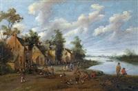 flusslandschaft mit figurenstaffage by cornelis droochsloot