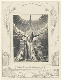 and my servant job shall pray for you, plate 18, from: the book of job by william blake