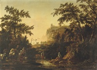an italianate landscape with a peasant family and their cattle fording a stream, a fortress on a rock beyond by johannes van der bent