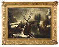 paesaggio invernale con figure nel passo del furlo by francesco foschi