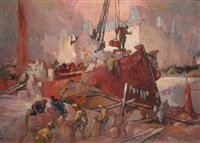 dock workers by hal (henry william lowe) hurst