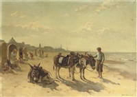 donkeys on the beach of scheveningen with the kurhaus beyond by louis soonius