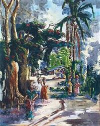 scène de vie en forêt équatoriale by albert mongita