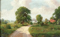 summer landscape (+ another, similar; pair) by howard hulsmann