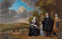 familienportrait vor einem anwesen in den dünen mit blick auf den egmondt-an-zee by herman mijnerts doncker