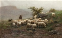 sheep grazing in a landscape by martin coulaud
