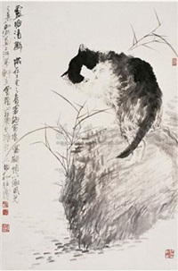 芦塘清趣图 (cat near reed pond) by song baisong