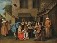 figures drinking in a tavern yard by flemish school (18)