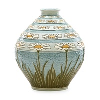 exceptional della robbia vase with daisies by roseville