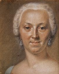 portrait einer dame mit weiss gepudertem haar by maurice quentin de la tour