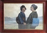 zwei damen in klassischem kimono by yamamoto