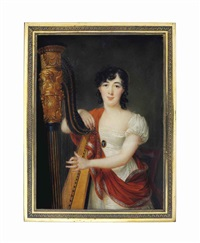 a young lady tuning a harp, in décolleté white dress, wearing belt with black and white cameo clasp, embroidered orange cashmere shawl, dark curling hair set with a hair band by louis marie autissier
