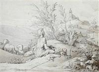 auf einem hügel betender hirte (+sinnender hirte mit seiner herde; 2 works) by karl hermann theodor langer