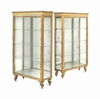a pair of louis xv style giltwood and mirrored vitrine cabinets, by anonymous-french (20)