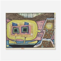 two trees on board of regentag (from midori no namida) by friedensreich hundertwasser