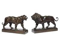 löwe und tiger (pair) by antoine-louis barye