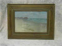 beach scene with pier by nicholas d' ascenzo