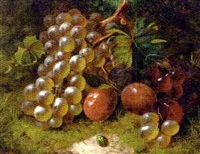 grapes and plums on a mossy bank (+ grapes, plums and a peach, with a butterfly on a mossy bank; pair) by william harding smith