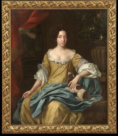 portrait of a lady with a king charles spaniel, probably hortense mancini, duchesse mazarin by sir peter lely
