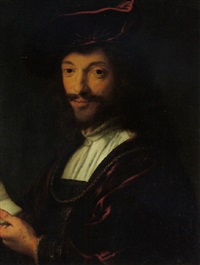 portrait of a gentleman wearing a red velvet beret and gown by abraham de vries