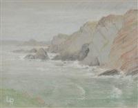 rocky coastal scene by lucien pissarro