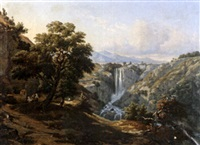 paysage à la cascade by édouard audiffred