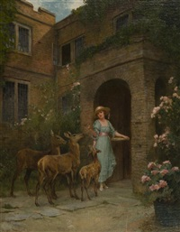 lady in a garden with deer by arthur wardle