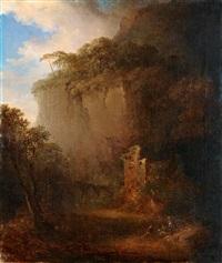 skymningslandskap med ruiner by carl johan fahlcrantz