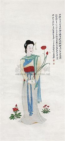 拈花仕女 lady picking flowers by zhang daqian