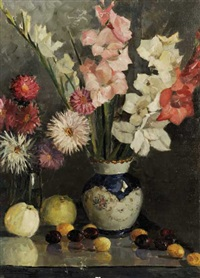 still life of gladioli by anton karzenevskiy