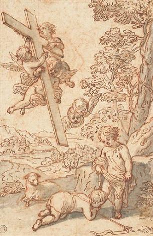 saint jean-baptiste enfant agenouillé devant le christ dans un paysage, des putti tenant la croix à gauche by antoine dieu