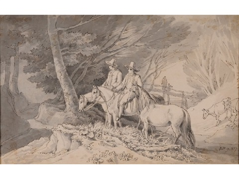 horsemen by a woodland stream by john white abbott