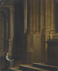 lady kneeling before an altar in a candlelit church interior by dirck van delen