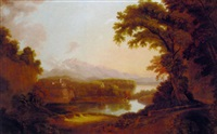 an italianate river landscape with a church and mountains beyond by hellen melville