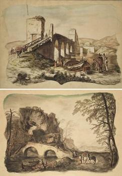 paisaje con puente paisaje con figuras pair by genaro perez villaamil