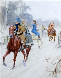 a chance encounter on a snowy road by gilbert scott wright