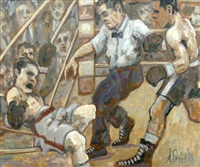 social realist depiction of prize fighting from the boxing series by arthur smith
