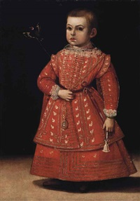 portrait of a boy, possibly phillipe emmanuel de savoie (1568-1605), full-length, in a gold-embroidered red costume holding a goldfinch by a string by jan kraek