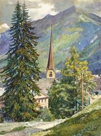 blick auf die kirche von bad gastein by franz markart