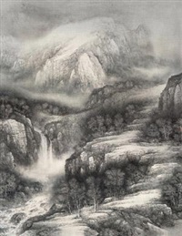 山涧飞瀑 (waterfall in mountain) by xu changjiang