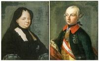 portrait de l'impératrice marie-thérèse (+ portrait de l'empereur joseph ii d'autriche; pair in 1 frame) by johann georg ziesenis