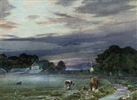 view of philiphaugh farm, selkirk at dawn by tom scott