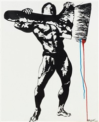 self portrait as a body builder holding a giant paint brush by blek le rat