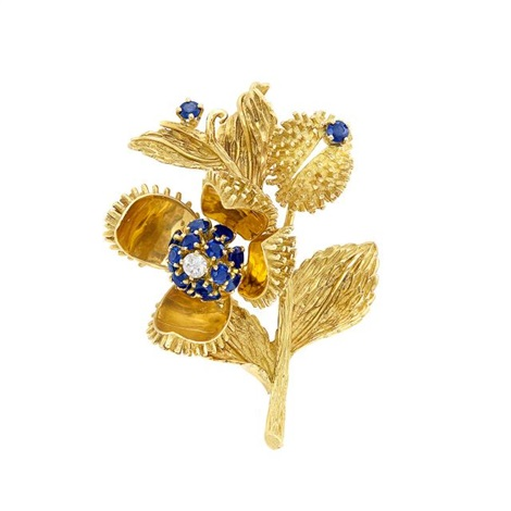 d630e0bf180 Gold, Sapphire and Diamond Flower Brooch, Tiffany Co by Tiffany & Co ...