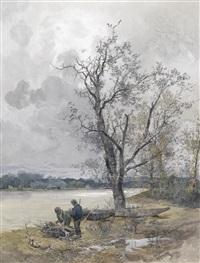 aulandschaft an der donau bei grauem himmel by franz kopallik