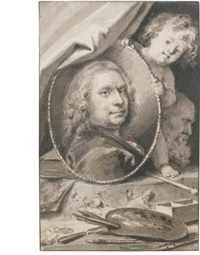 self-portrait, within a decorative allegorical surround by jacob de wit